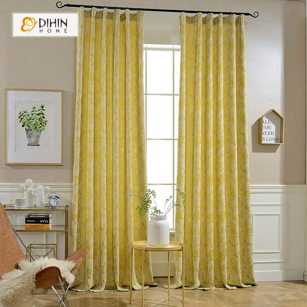 DIHINHOME Home Textile Modern Curtain DIHIN HOME Flower Printed ,Cotton Linen ,Blackout Grommet Window Curtain for Living Room ,52x63-inch,1 Panel