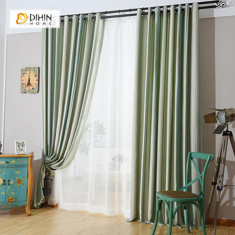 DIHINHOME Home Textile Modern Curtain DIHIN HOME Green Lines Printed Curtain,Blackout Grommet Window Curtain for Living Room ,52x63-inch,1 Panel