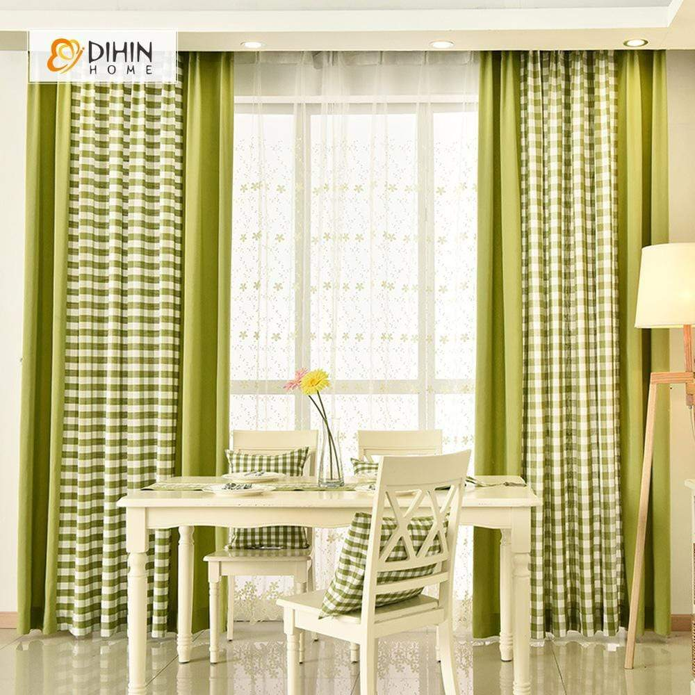 DIHINHOME Home Textile Modern Curtain DIHIN HOME Green Square Printed,Blackout Grommet Window Curtain for Living Room ,52x63-inch,1 Panel