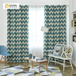 DIHINHOME Home Textile Modern Curtain DIHIN HOME Green Stripes Printed,Blackout Grommet Window Curtain for Living Room ,52x63-inch,1 Panel