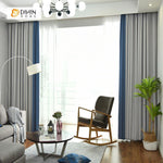 DIHINHOME Home Textile Modern Curtain DIHIN HOME Grey and Blue  Printed,Blackout Grommet Window Curtain for Living Room ,52x63-inch,1 Panel