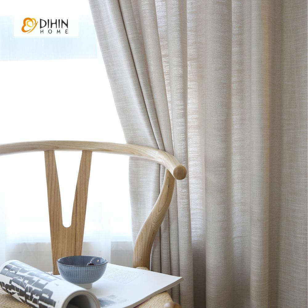 DIHINHOME Home Textile Modern Curtain DIHIN HOME Grey Solid,Cotton Linen,Blackout Grommet Window Curtain for Living Room ,52x63-inch,1 Panel