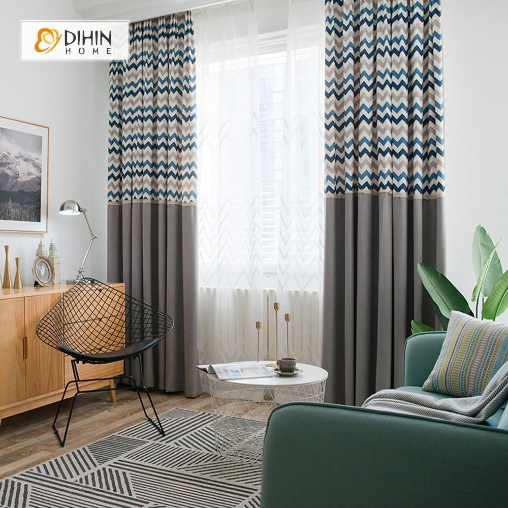DIHINHOME Home Textile Modern Curtain DIHIN HOME Half Black Blue Grey Stripes Printed,Blackout Grommet Window Curtain for Living Room ,52x63-inch,1 Panel