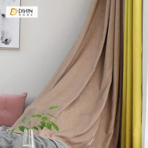 DIHINHOME Home Textile Modern Curtain DIHIN HOME Light Coffee and Yellow Printed,Blackout Grommet Window Curtain for Living Room ,52x63-inch,1 Panel