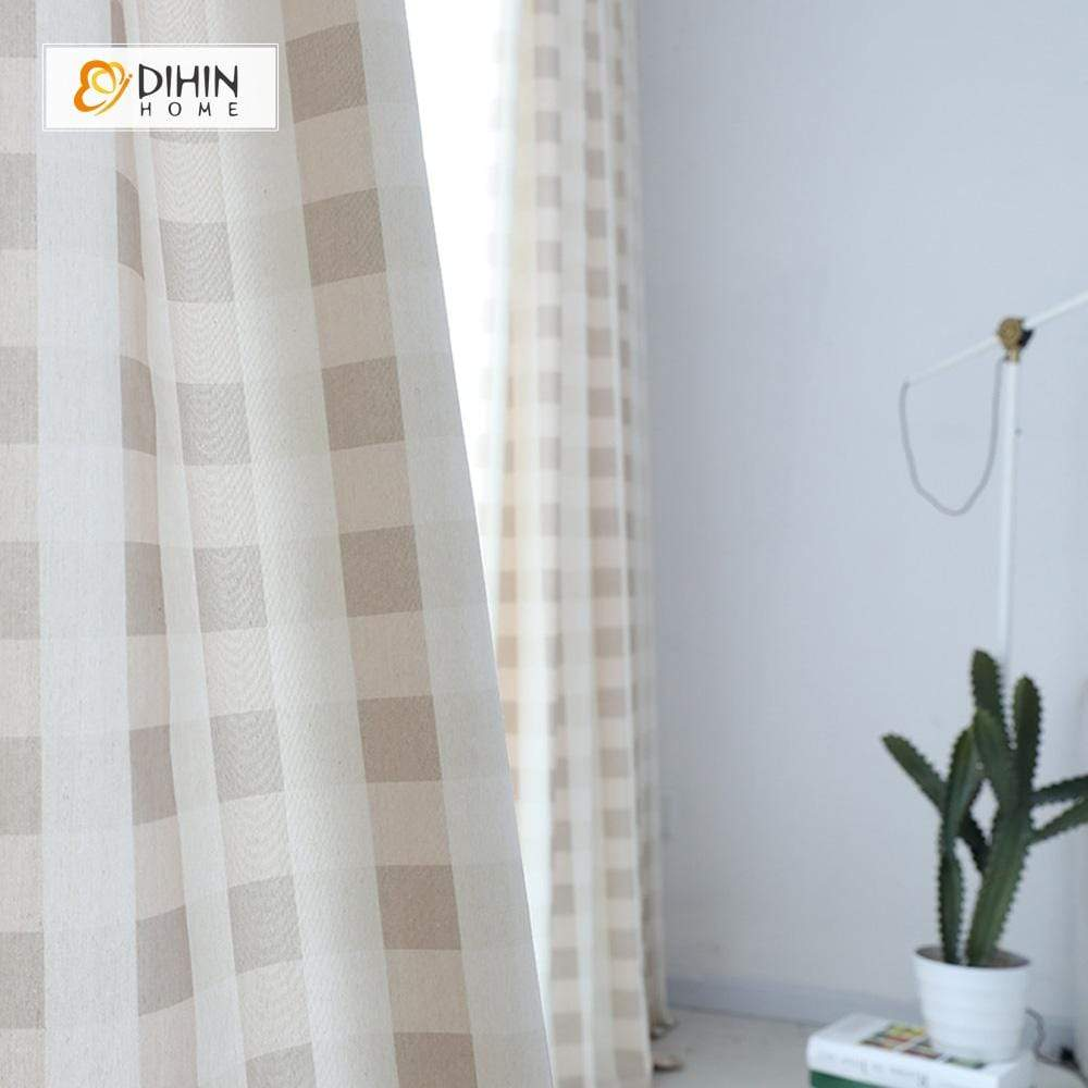 DIHINHOME Home Textile Modern Curtain DIHIN HOME Light Color Square Printed,Blackout Grommet Window Curtain for Living Room ,52x63-inch,1 Panel