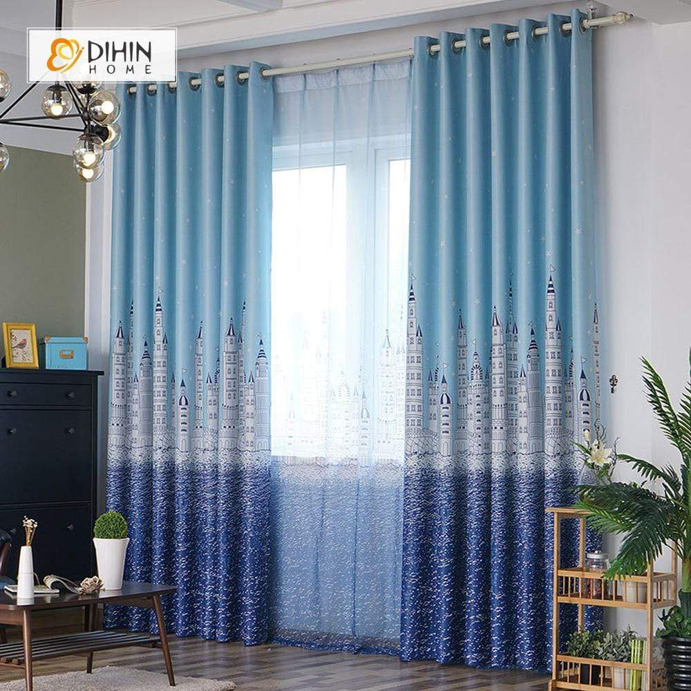 DIHINHOME Home Textile Modern Curtain DIHIN HOME Mediterranean Sea Printed,Blackout Grommet Window Curtain for Living Room ,52x63-inch,1 Panel