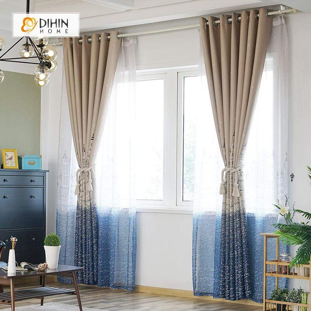 DIHINHOME Home Textile Modern Curtain DIHIN HOME Mediterranean Sea Yellow Printed,Blackout Grommet Window Curtain for Living Room ,52x63-inch,1 Panel