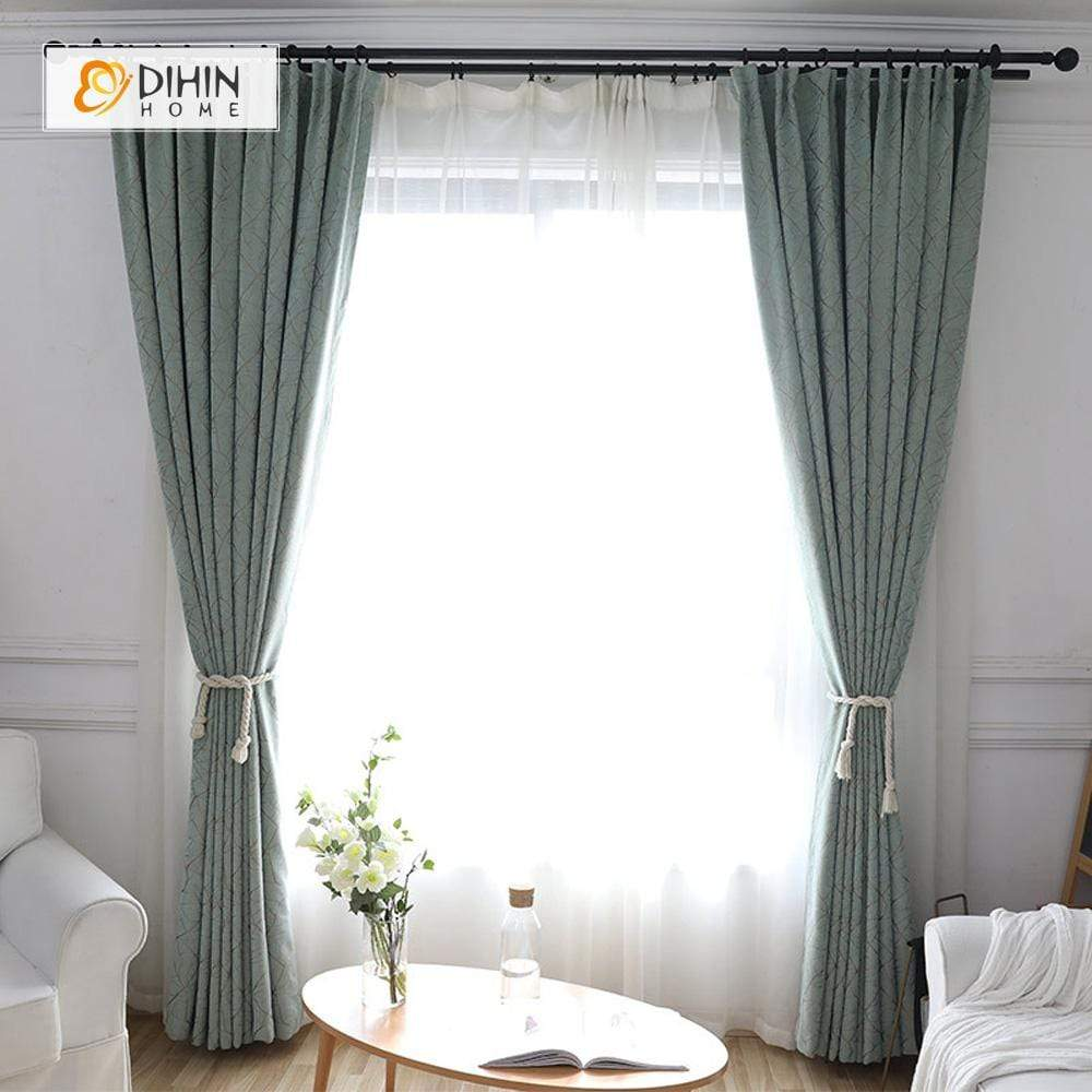 DIHINHOME Home Textile Modern Curtain DIHIN HOME Messy Lines Printed,Blackout Grommet Window Curtain for Living Room ,52x63-inch,1 Panel