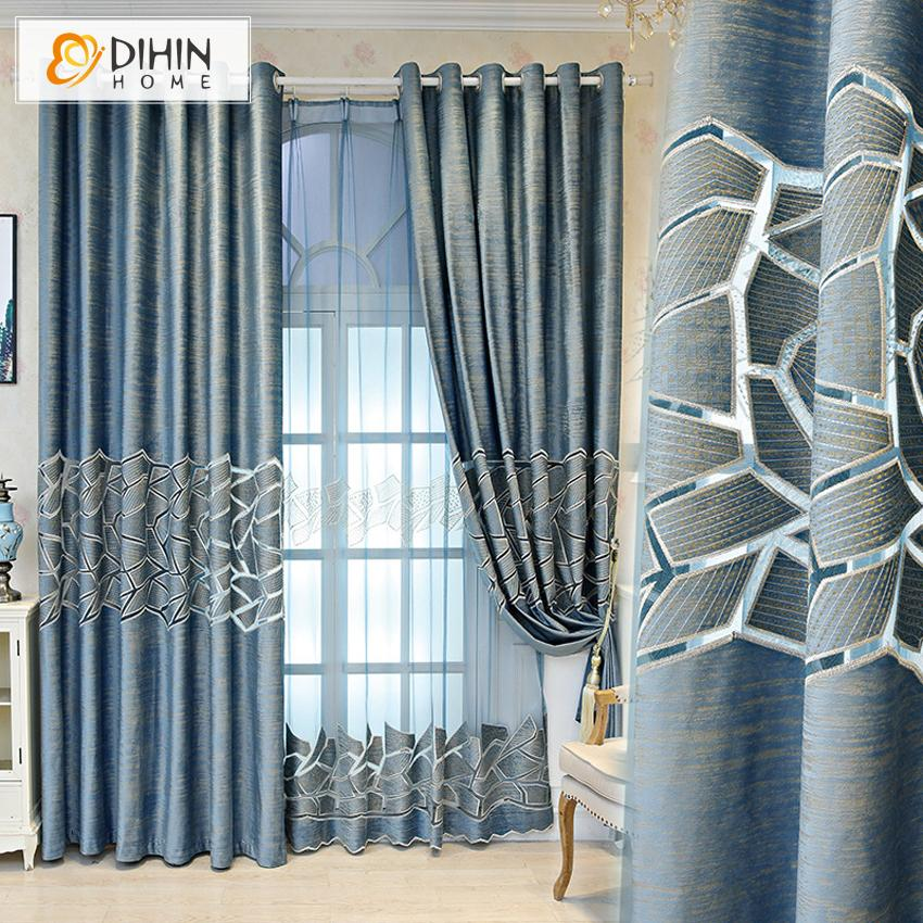 DIHINHOME Home Textile Modern Curtain DIHIN HOME Modern Abstract Geometry Curtain ,Blackout Curtains Grommet Window Curtain for Living Room ,52x84-inch,1 Panel