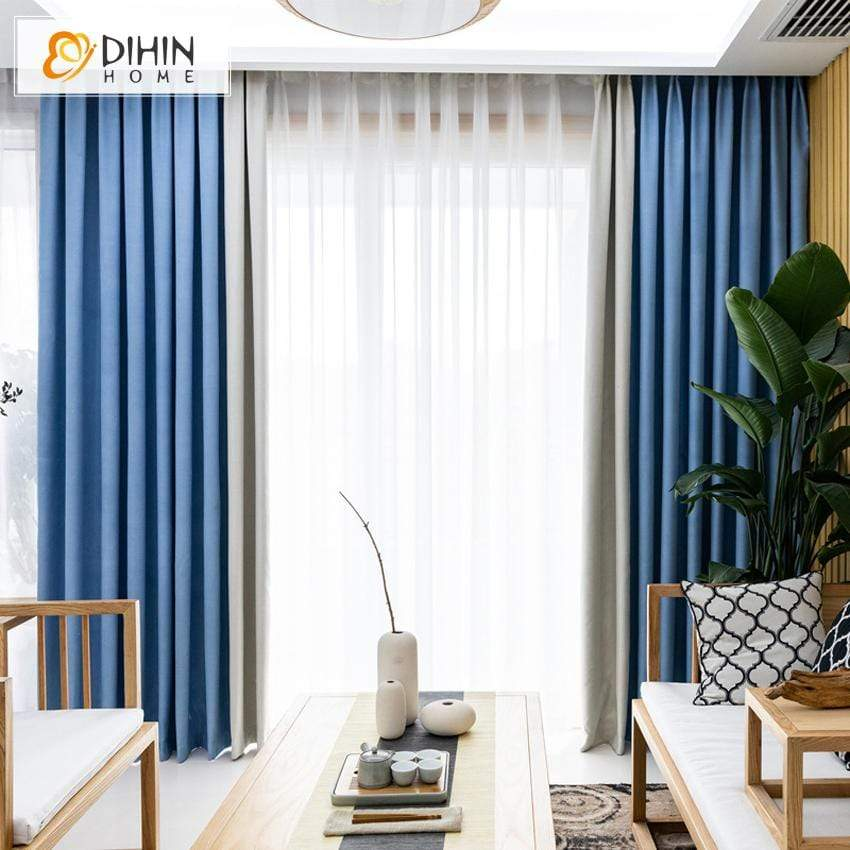 Modern Curtain Blackout Grommet Window Curtain For Living Room Dihinhome Home Textile