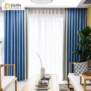 DIHIN HOME Modern Blue and Light Grey Spliced Curtains,Blackout Grommet  Window Curtain for Living Room ,52x63-inch,1 Panel