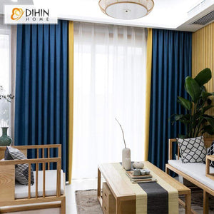 DIHIN HOME Modern Blue and Yellow Spliced Curtains,Blackout Grommet Window  Curtain for Living Room ,52x63-inch,1 Panel