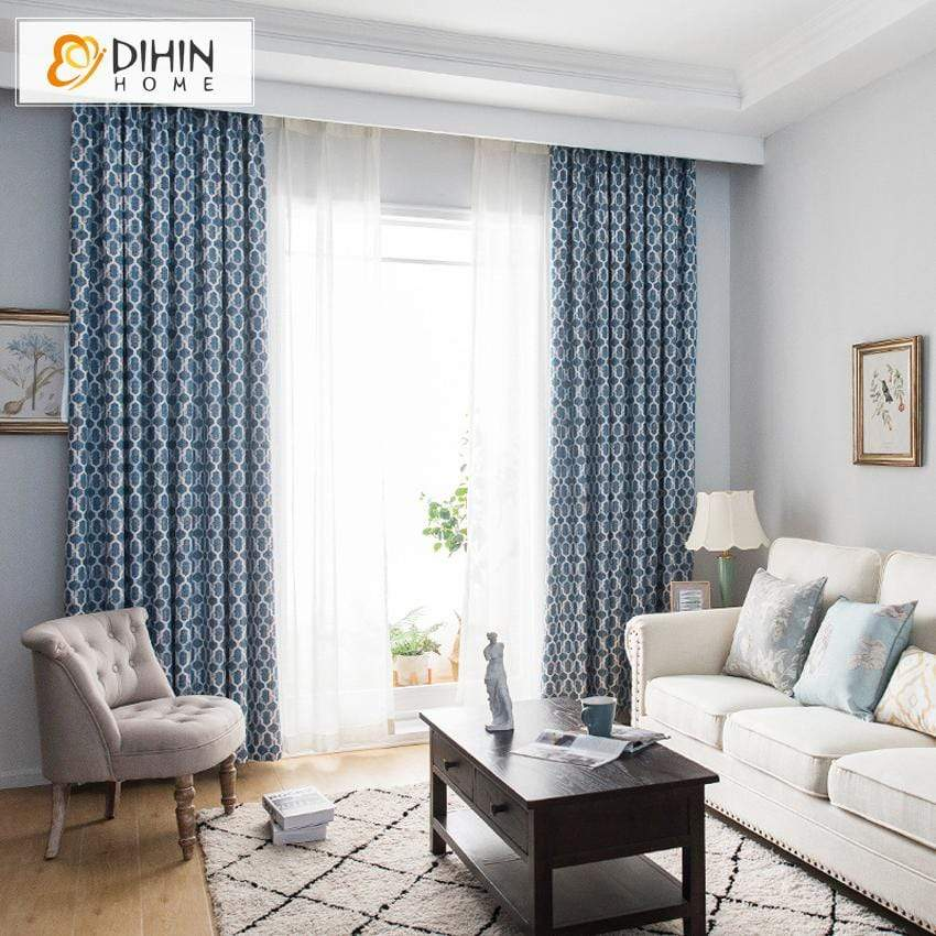 DIHIN HOME Modern Blue Geometric Curtains,Blackout Grommet Window Curtain  for Living Room ,52x63-inch,1 Panel