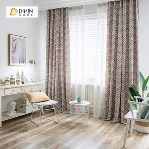 DIHIN HOME Modern Colorful Striped Wave Curtains ,Cotton Linen ,Blackout Grommet Window Curtain for Living Room ,52x63-inch,1 Panel