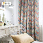 DIHINHOME Home Textile Modern Curtain DIHIN HOME Modern Colorful Striped Wave Curtains ,Cotton Linen ,Blackout Grommet Window Curtain for Living Room ,52x63-inch,1 Panel