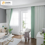 DIHINHOME Home Textile Modern Curtain DIHIN HOME Modern Cotton Linen Fabric Green Color Printed,Blackout Grommet Window Curtain for Living Room ,52x63-inch,1 Panel
