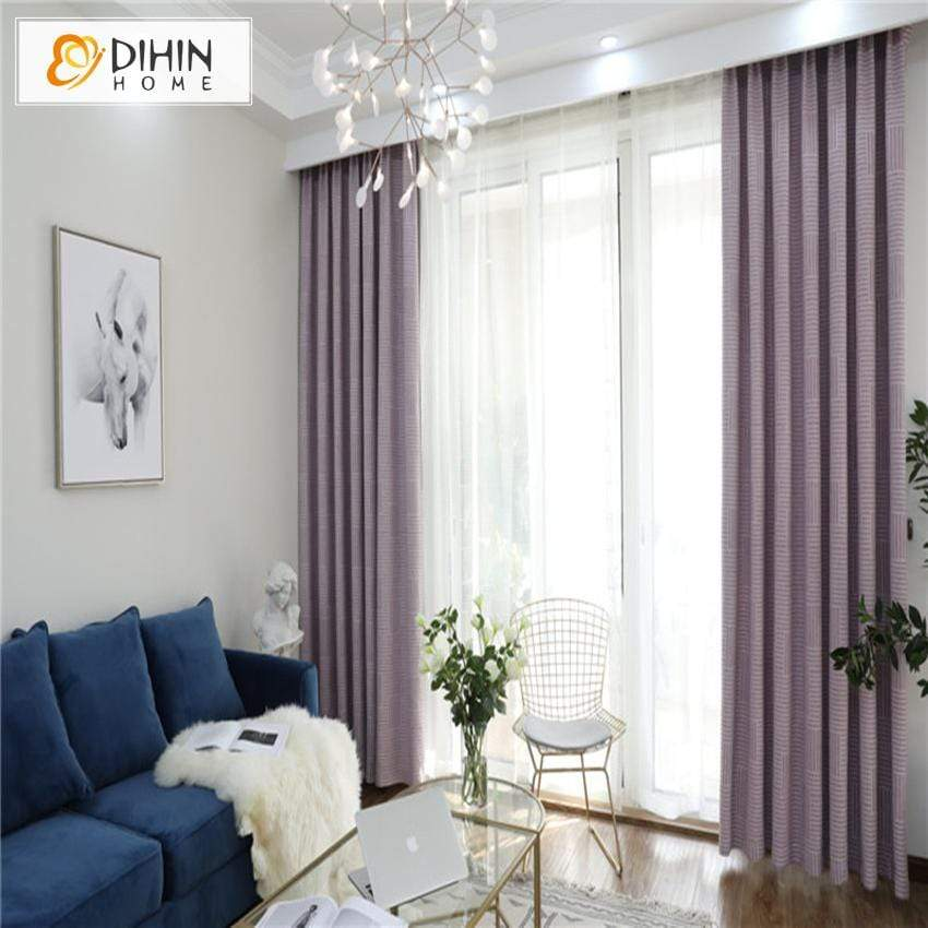 DIHIN HOME Modern Geometric Curtains,Blackout Grommet Window Curtain for  Living Room ,52x63-inch,1 Panel