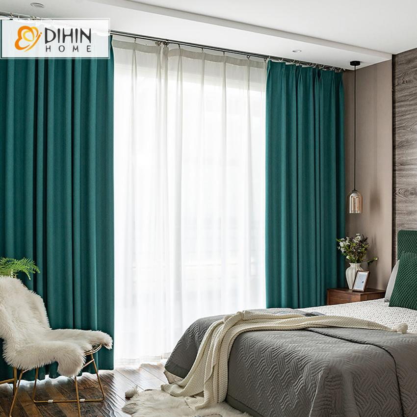 DIHINHOME Home Textile Modern Curtain DIHIN HOME Modern Green Color High Quality Curtains,Blackout Grommet Window Curtain for Living Room ,52x63-inch,1 Panel
