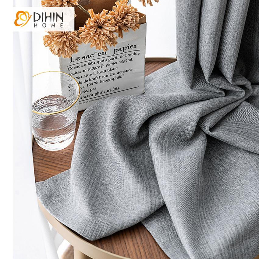 DIHINHOME Home Textile Modern Curtain DIHIN HOME Modern Grey Color High Quality Curtains,Blackout Grommet Window Curtain for Living Room ,52x63-inch,1 Panel
