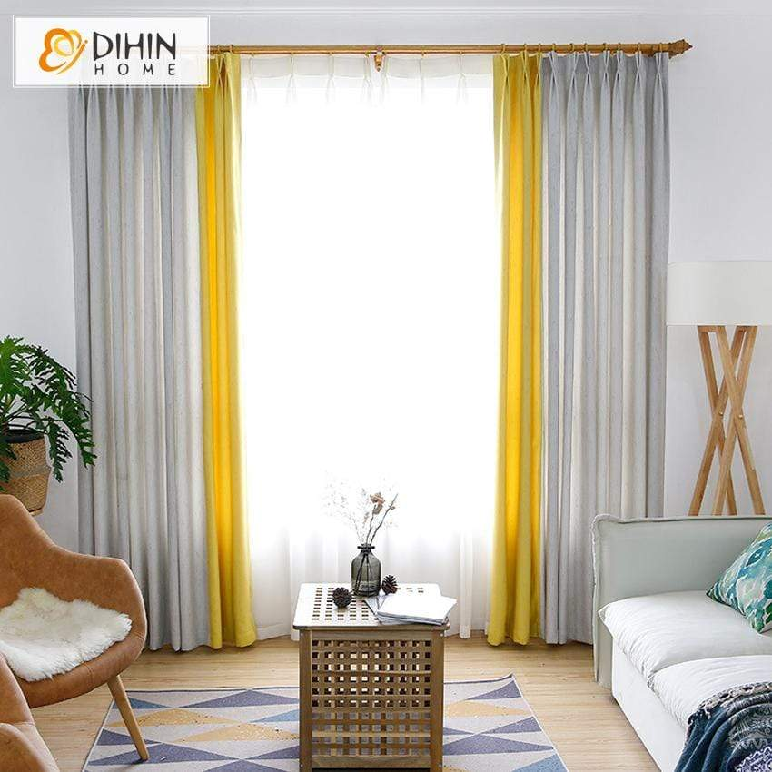 DIHIN HOME Modern Light Grey and Yellow Spliced Curtains,Blackout Grommet  Window Curtain for Living Room ,52x63-inch,1 Panel
