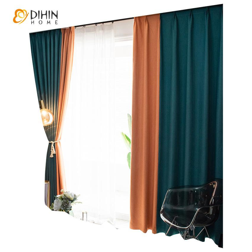 DIHINHOME Home Textile Modern Curtain DIHIN HOME Modern Nordic Apricot and Grey Printed,Blackout Grommet Window Curtain for Living Room ,52x63-inch,1 Panel