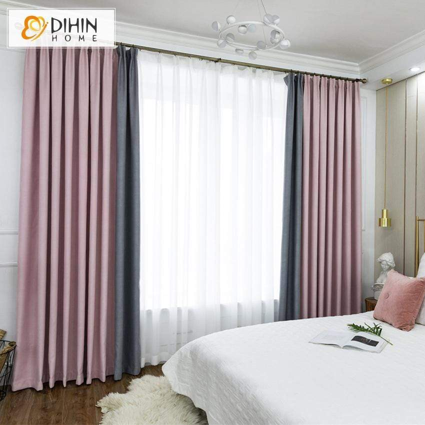 DIHIN HOME Modern Pink and Grey Spliced Curtains,Blackout Grommet Window  Curtain for Living Room ,52x63-inch,1 Panel