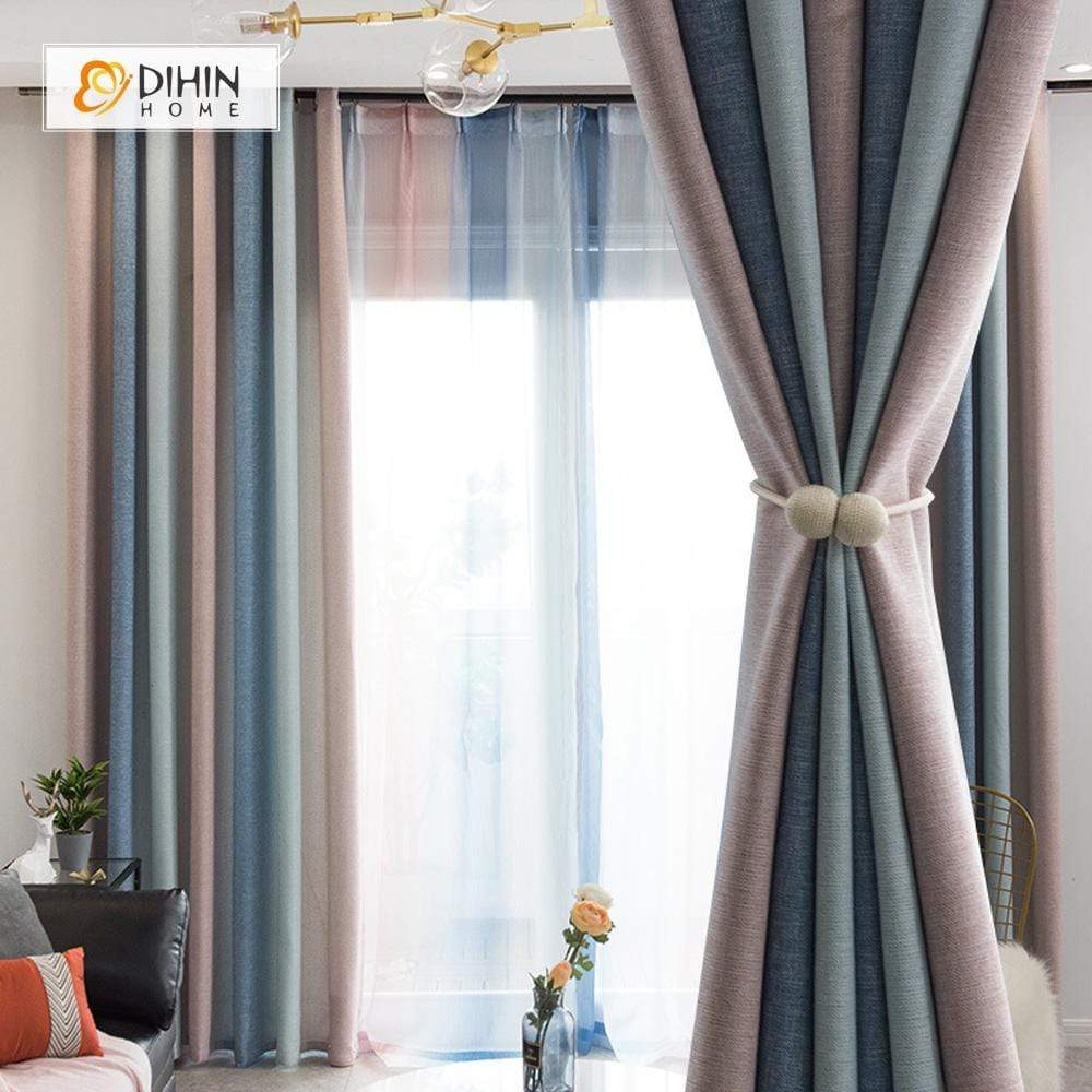 DIHIN HOME Modern Striped Curtains ,Cotton Linen ,Blackout Grommet Window  Curtain for Living Room ,52x63-inch,1 Panel