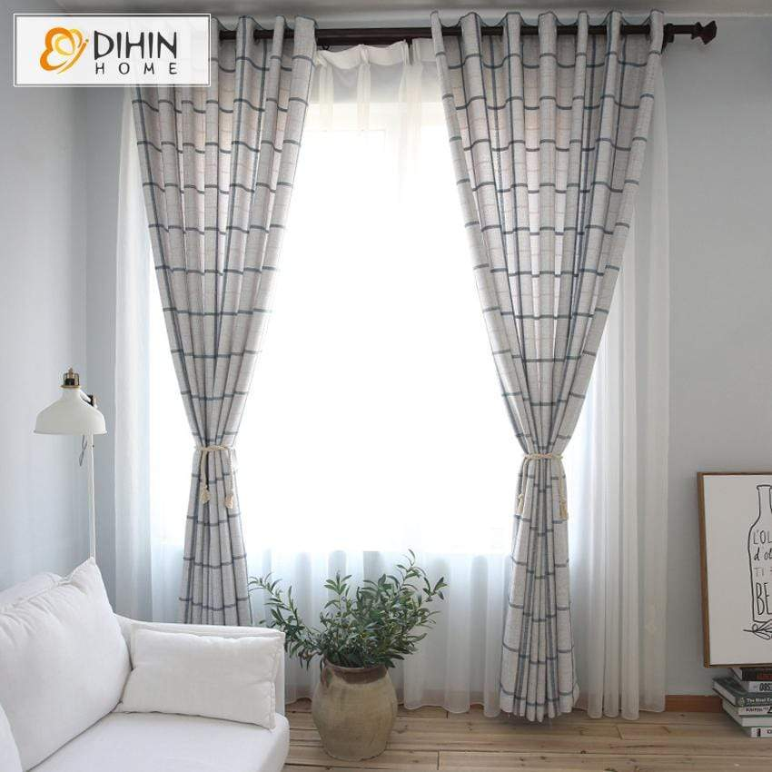 DIHINHOME Home Textile Modern Curtain DIHIN HOME Modern Striped Curtains ,Cotton Linen ,Blackout Grommet Window Curtain for Living Room ,52x63-inch,1 Panel