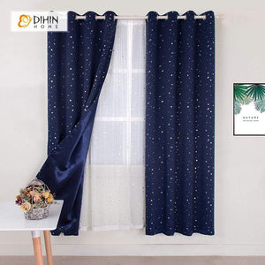 DIHINHOME Home Textile Modern Curtain DIHIN HOME Navy Blue Stars Printed,Blackout Grommet Window Curtain for Living Room ,52x63-inch,1 Panel