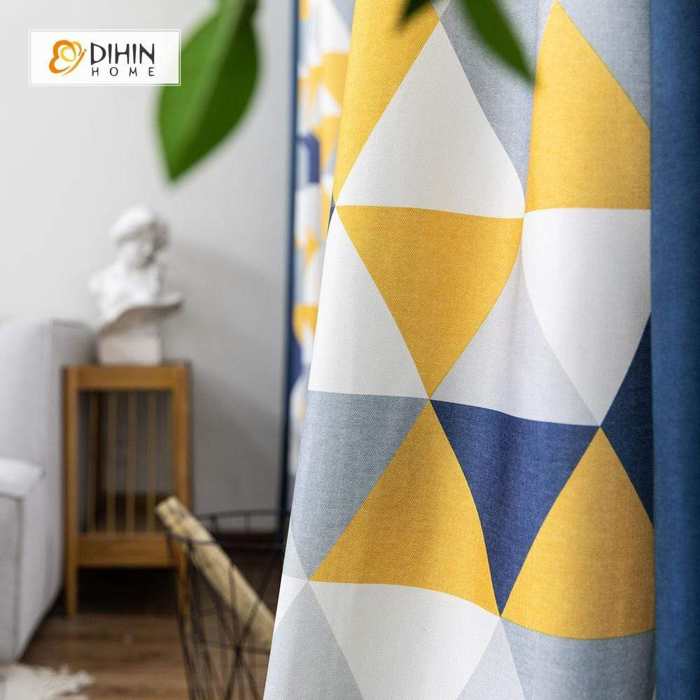 DIHINHOME Home Textile Modern Curtain DIHIN HOME Neat Triangle Printed,Blackout Grommet Window Curtain for Living Room ,52x63-inch,1 Panel