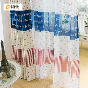 DIHINHOME Home Textile Modern Curtain DIHIN HOME Ocean Theme Printed,Blackout Grommet Window Curtain for Living Room ,52x63-inch,1 Panel