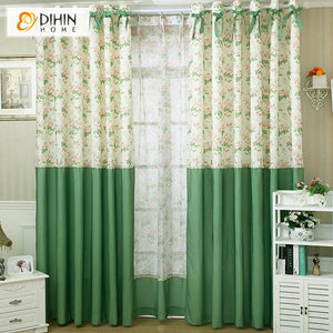 DIHINHOME Home Textile Modern Curtain DIHIN HOME Pastoral Foral Printed Curtains,Blackout Grommet Window Curtain for Living Room ,52x63-inch,1 Panel