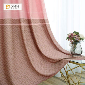 DIHINHOME Home Textile Modern Curtain DIHIN HOME Pink Lines Printed,Blackout Grommet Window Curtain for Living Room ,52x63-inch,1 Panel