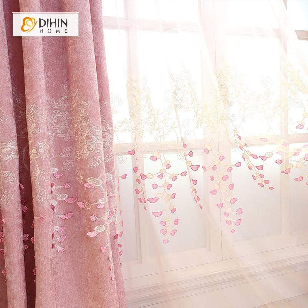 DIHINHOME Home Textile Modern Curtain DIHIN HOME Pink Love Embroidered ,Blackout Grommet Window Curtain for Living Room ,52x63-inch,1 Panel