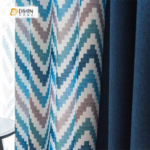 DIHINHOME Home Textile Modern Curtain DIHIN HOME Pixel style Blue Brown Stripes Printed,Blackout Grommet Window Curtain for Living Room ,52x63-inch,1 Panel