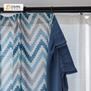 DIHINHOME Home Textile Modern Curtain DIHIN HOME Pixel style Blue Grey Stripes Printed,Blackout Grommet Window Curtain for Living Room ,52x63-inch,1 Panel