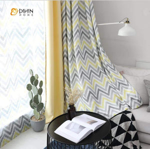 DIHINHOME Home Textile Modern Curtain DIHIN HOME Pixel style Yellow Black Stripes Printed,Blackout Grommet Window Curtain for Living Room ,52x63-inch,1 Panel