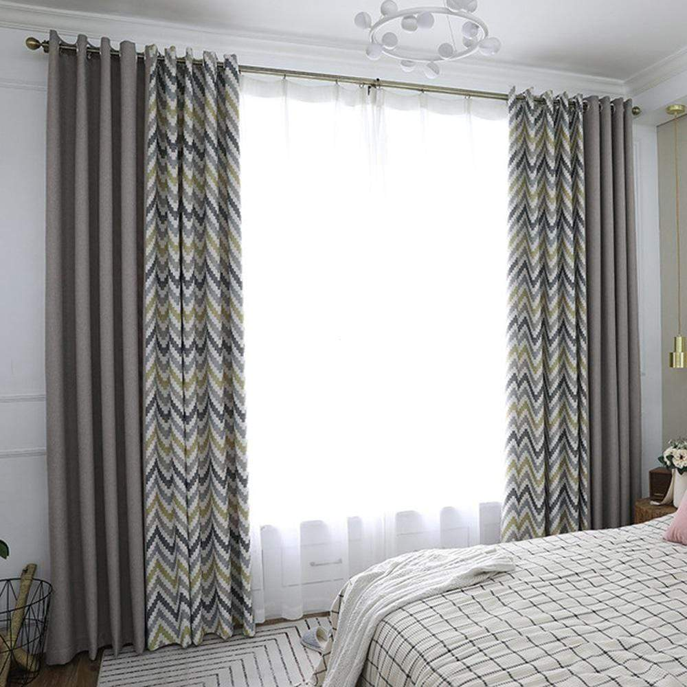 DIHINHOME Home Textile Modern Curtain DIHIN HOME Pixel style Yellow Grey Stripes Printed,Blackout Grommet Window Curtain for Living Room ,52x63-inch,1 Panel