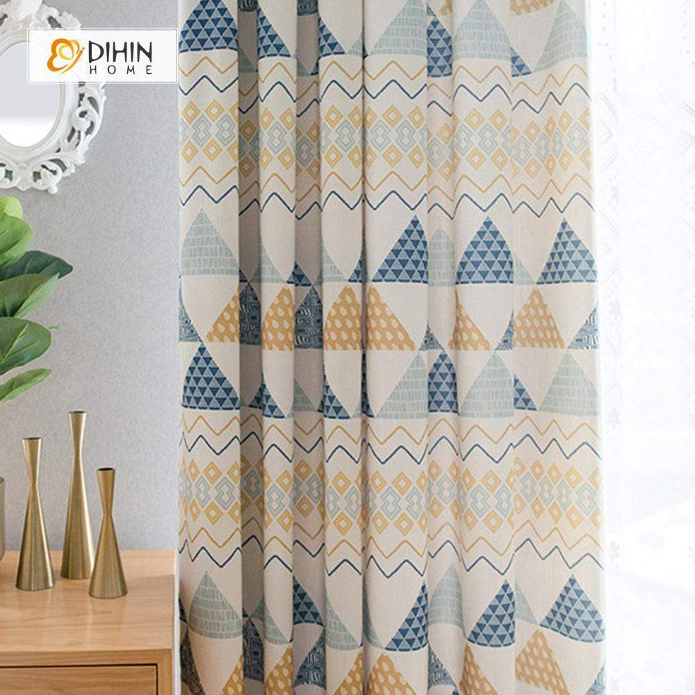 DIHINHOME Home Textile Modern Curtain DIHIN HOME Printed Geometric Style ,Cotton Linen ,Blackout Grommet Window Curtain for Living Room ,52x63-inch,1 Panel