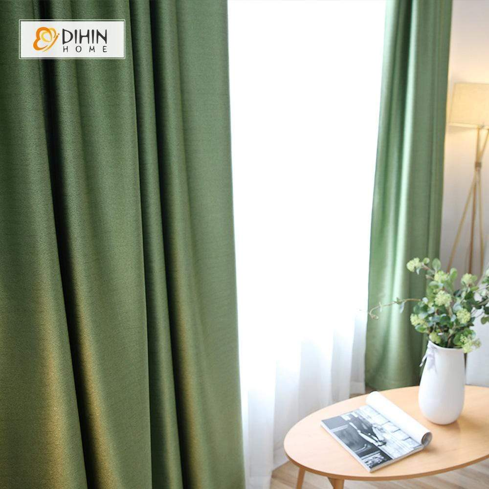 DIHINHOME Home Textile Modern Curtain DIHIN HOME Pure Green ,Blackout Grommet Window Curtain for Living Room ,52x63-inch,1 Panel