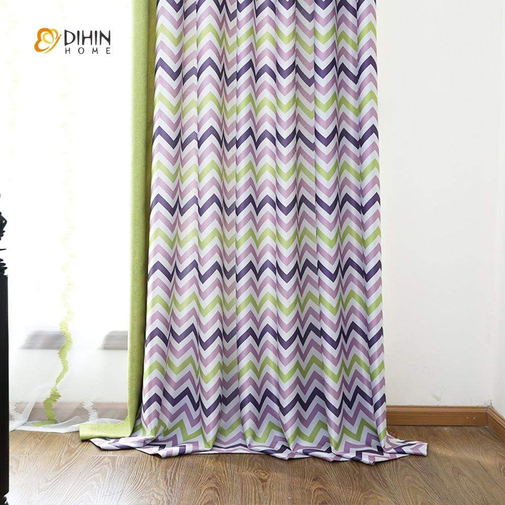 DIHINHOME Home Textile Modern Curtain DIHIN HOME Purple and Green Wave Printed,Blackout Grommet Window Curtain for Living Room ,52x63-inch,1 Panel