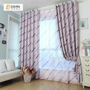 DIHINHOME Home Textile Modern Curtain DIHIN HOME Purple Curve and Spot Printed,Blackout Grommet Window Curtain for Living Room ,52x63-inch,1 Panel