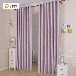 DIHINHOME Home Textile Modern Curtain DIHIN HOME Purple Lines Connected Printed,Blackout Grommet Window Curtain for Living Room ,52x63-inch,1 Panel