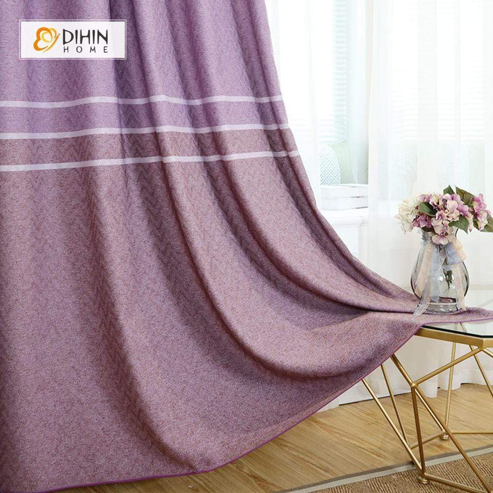 DIHINHOME Home Textile Modern Curtain DIHIN HOME Purple Lines Printed,Blackout Grommet Window Curtain for Living Room ,52x63-inch,1 Panel
