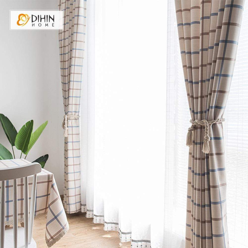 DIHINHOME Home Textile Modern Curtain DIHIN HOME Red and Brown Lines Printed,Blackout Grommet Window Curtain for Living Room ,52x63-inch,1 Panel