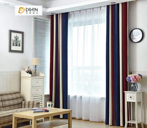 DIHINHOME Home Textile Modern Curtain DIHIN HOME Red Blue Beige Printed,Blackout Grommet Window Curtain for Living Room ,52x63-inch,1 Panel