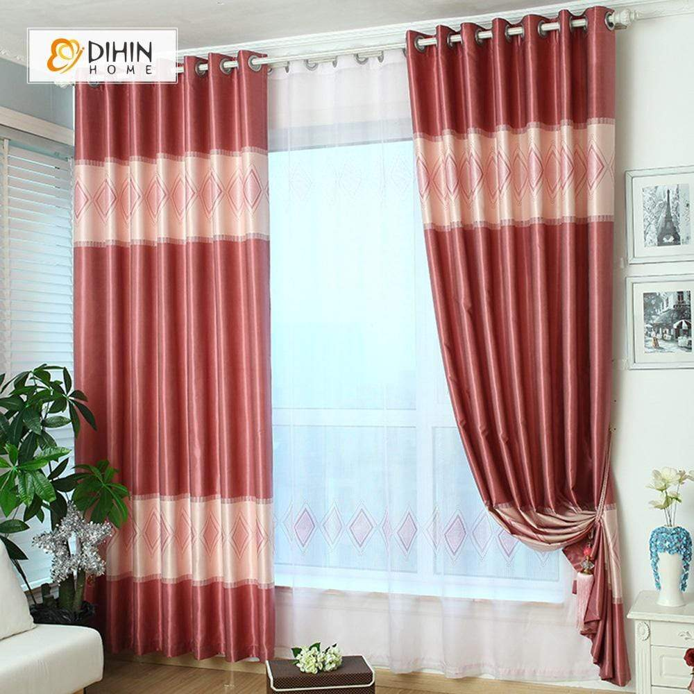 DIHINHOME Home Textile Modern Curtain DIHIN HOME Red Diamond Shape Printed,Blackout Grommet Window Curtain for Living Room ,52x63-inch,1 Panel