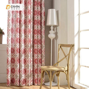 DIHINHOME Home Textile Modern Curtain DIHIN HOME Red Jacquard Printed ,Cotton Linen ,Blackout Grommet Window Curtain for Living Room ,52x63-inch,1 Panel