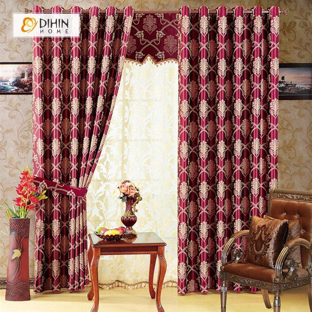 DIHINHOME Home Textile Modern Curtain DIHIN HOME Red Printed,Blackout Grommet Window Curtain for Living Room ,52x63-inch,1 Panel
