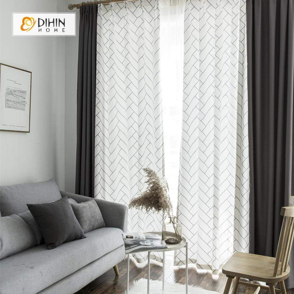 DIHINHOME Home Textile Modern Curtain DIHIN HOME Simple Black Lines Printed,Blackout Grommet Window Curtain for Living Room ,52x63-inch,1 Panel